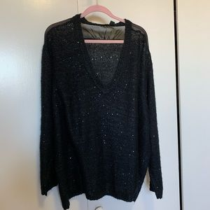 RDI BLACK SWEATER WITH SEQUIN DETAILS SZ 2x